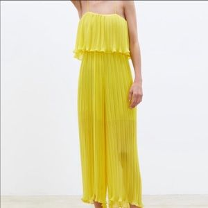 Zara Yellow Pleated Jumpsuit